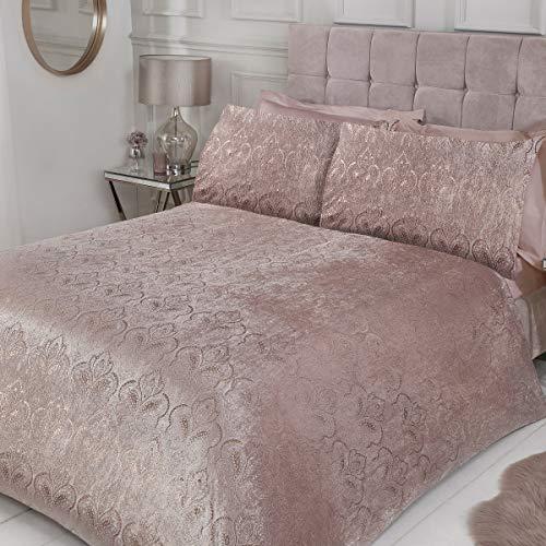 Sleepdown Paisley Floral Duvet Quilt Cover with Pillow Case Shimmer Sparkle Velvet Bedding Set - Blush Pink - Single (135cm x 200cm)