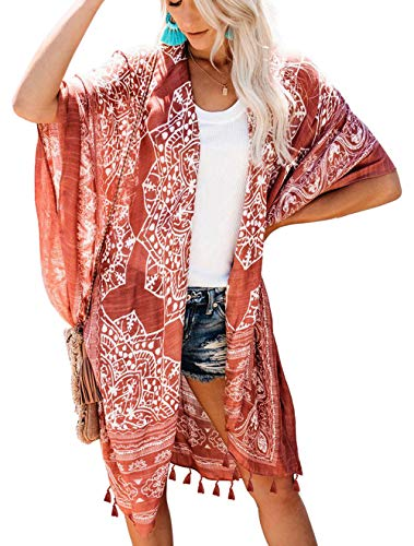 May Story Damen Kimono Sommer Cardigan Gedruckt Kurzarm Lange Bluse Tops Beachwear Lässige Strand Poncho Pareos (One Size, Braun)