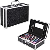 Ver Beauty 54 Piece Makeup Gift Set Kit Train Case with Mirror, VMK1104, Black Glitter