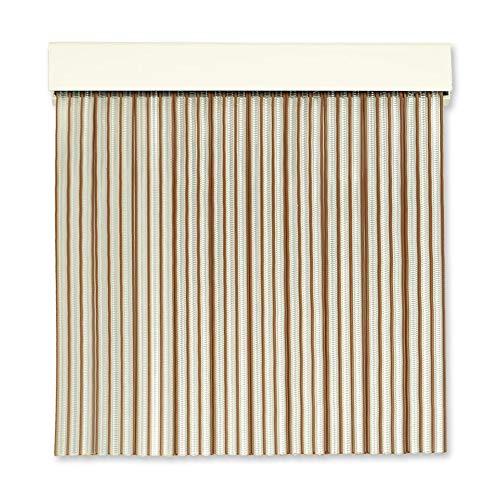 Cortinas Exterior Puerta | Material Plastico PVC y Barra Aluminio | Ideal para Terraza y Porche | Antimoscas | Transparente-Marron | 210 * 90