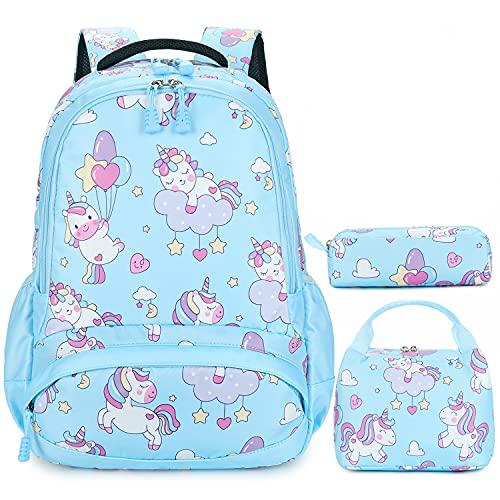 Mochila Unicornio Niños Impermeable Mochila Escolar para Adolescente Pequeñas Mochilas Infantil Bolso para Chicas para La Escuela,Viajes,Intemperie Juego de 3 - Azul Claro