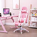 AJS Pink PU Leather Computer Gaming Chair for Women, High Back Ergonomic Swivel Recliner with...