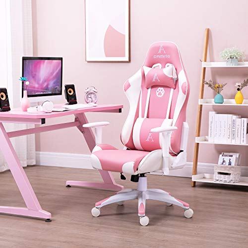 AJS Pink PU Leather Computer Gaming Chair for Women, High Back Ergonomic Swivel Recliner with Headrest and Lumbar Support, Racing Style Esports Office Chair with Adjustable Height