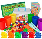 NEOROD Rainbow Counting Bears with Matching Sorting Cups, Number Color Recognition STEM Educational Toddler Preschool Math Manipulatives Toy Set of 90, 2 Tweezers, 2 Dices, 12 Cards, Container