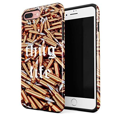Funda Para iPhone 7 Plus & 8 Plus Thug Life Military Ammunition Weapons Golden Bullets, Resistente a los Golpes, Carcasa Dura de PC de 2 Capas + Funda Protectora de Diseño Híbrido de TPU