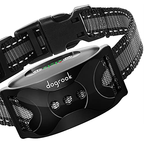 DogRook Rechargeable Bark Collar for Dogs, Humane Training Collar with Vibration and Beeps Modes, No Shock, Works Without Remote for All Breeds of Small, Medium and Large Dogs