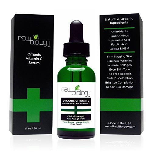 Raw Biology Organic Vitamin C Serum with Hyaluronic Acid, Clinical Strength Age Defying Formula for Your Skin