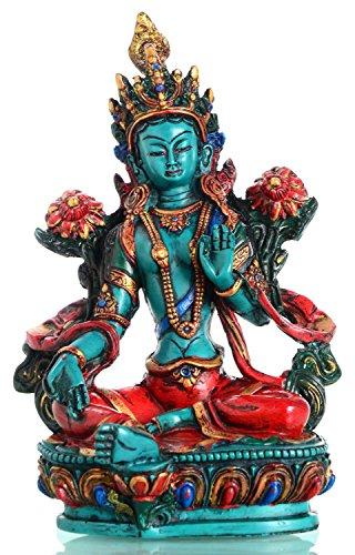 BUDDHAFIGUREN Statue de Bouddha - Tara Verte - Turquoise Peinte - résine 21 cm de haut