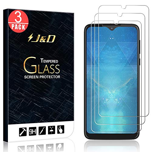 J&D Compatible for Motorola One Macro Glass Screen Protector, 3-Pack [Tempered Glass] [Not Full Coverage] HD Clear Ballistic Glass Screen Protector for Moto One Macro Glass Film