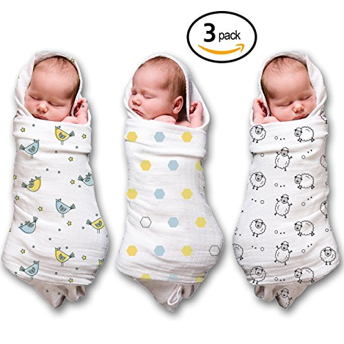 Muslin Swaddle Blankets 100% Soft Muslin Cotton 3 Pack Large 47