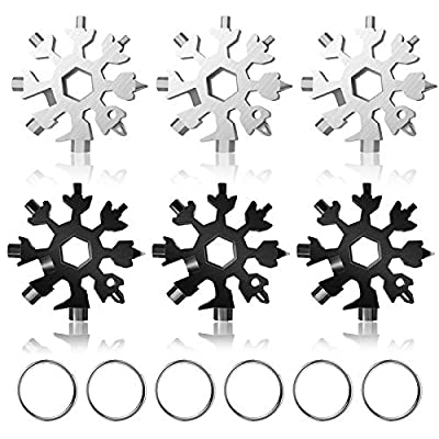 18-in-1 Stainless Steel Snowflake Multi-Tool,Portable Keychain screwdriver Bottle opener Tool for Military Enthusiasts,Outdoor EDC Tools