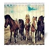 Violetpos Pony Pferd Braun Tier Duschvorhang aus Stoff wasserdichter Vorhang mit verstärktem Saum 160 x 180 cm