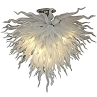 100%口吹きガラスアートシャンデリアライトLED光源110V 240V白いガラスハンギングシャンデリアベッドルーム装飾用-ウォームホワイト W90xh50cm