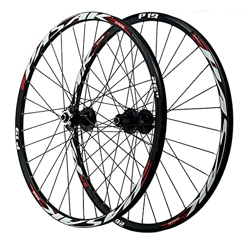 Bicycle Wheel Set, 26/27.5/29' Mountain Bike Wheelset Double Walled Aluminum Alloy MTB Rim Cycling Wheels 12 Speed Cassette 32H Quick Release 6 Nail Disc Brake (Color : D, Size : 26INCH)