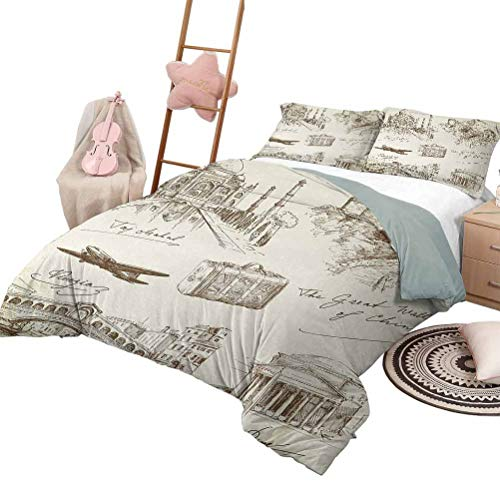 DayDayFun Kids' Quilt Set Travel Lightweight Bedroom Bedspread for All Season World Famous Landmarks Tourist Attractions with Airplane and Old Suitcase Illustration Full Size Beige
