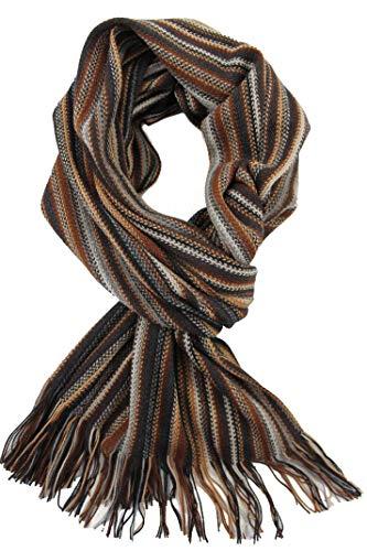 Rotfuchs Foulard en peluche Foulard en maille Raschel à rayures 100% laine Fabriqué en Allemagne (marron noir blanc)