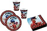 52-teiliges Party-Set Miraculous Ladybug - Teller Becher Servietten für 16 Kinder