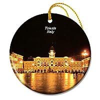 イタリアイタリアユニフォームスクエアトリエステクリスマスオーナメントセラミックシート旅行お土産ギフト