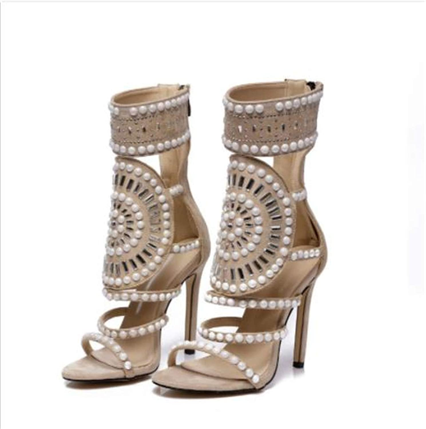 WYQQ Openwork Rhinestone Sandals high Heel Fish Mouth high Heels Stiletto high Help for Women