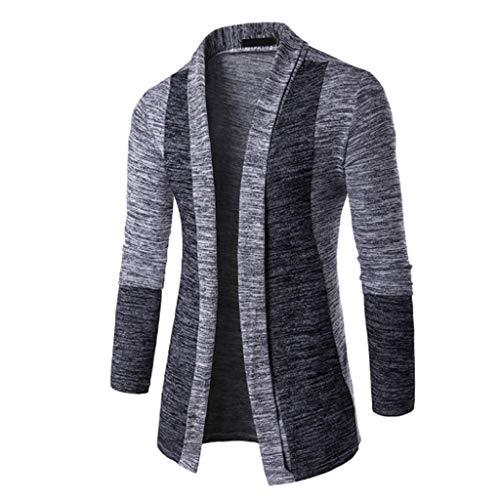 QJKai Mens vorne offen Revers Strickjacke Schal Chunky Knited Pullover Placket Lange Linie stilvolle Langarm Cardigan Trenchcoat (Color : C, Size : M)