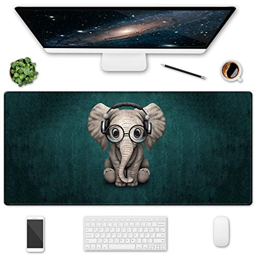 HOMKUMY Extended Gaming Mouse Pad, 35.5x15.75 Non-Slip Oversized Desk Pad Mousepad with Stitched Edges Waterproof Keyboard Mouse Mat Desk Protector for Game, Office and Home, Cute Elephant