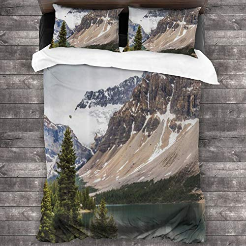 Duvet cover bedding Set,Alberta Rocks With Ranges Composed Of Shale Limestone Hill Places Photograph Print,3 Piece Set bedding with 2 pillowcases,Double(200 * 200cm)