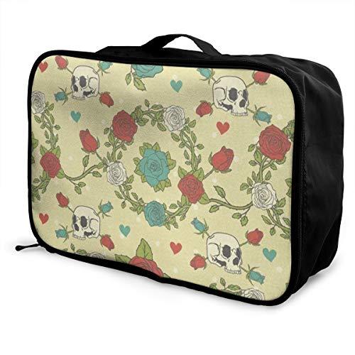 Travel Bags Vintage Sugar Skull Red Green Rose Portable Duffel Trolley Handle Luggage Bag