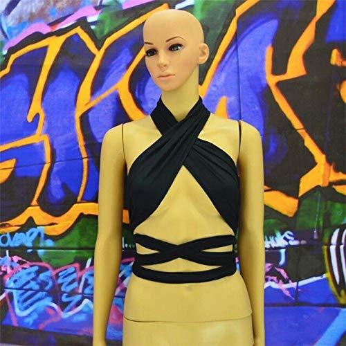 EW Summer Sexy Women Tops Ladies Nightclubs Correas Cruzadas Tank Top Chaleco elástico Camisola Halter Envuelto en el Pecho Feminino