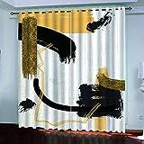 Cortinas Salón Modernas Opacas para Ventanas de Resistente a la Luz Tela Suave y Gruesa con Ojales - Graffiti Amarillo Creativo 210x210 cm (Ancho x Alto)