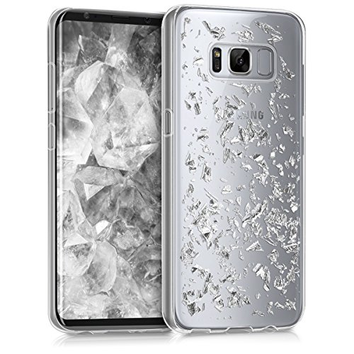 kwmobile Samsung Galaxy S8 Hülle - Handyhülle für Samsung Galaxy S8 - Handy Case in Flocken Design Silber Transparent