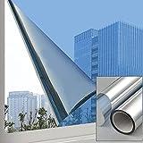 Película de Ventana de Espejo unidireccional 40 cm * 500 cm, Aolkee Película de Ventana Reflectante Privacidad Unidireccional Anti UV Control de Calor Protección Etiqueta de Ventana de Vidrio Plata
