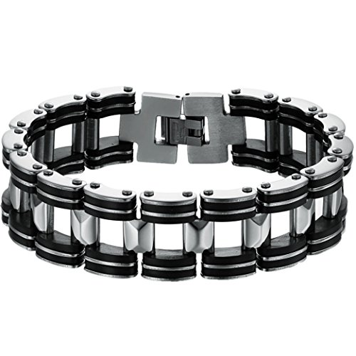 OIDEA Herren Edelsathl Armband, 18.6mm Breite Große Fahrradkette Motorradkette Hochglanz Poliert Biker Kette Silikon Kettenarmband Armkette Armreif, Silber schwarz