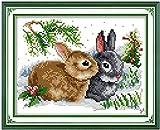 Cute Rabbits DIY Costura hecha a mano Cuenta 11CT Impreso Kit de bordado de punto de cruz Set Decoraci¨n del hogar