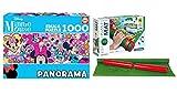 Outletdelocio. Pack Puzzle Educa 17991. Minnie Mouse. Panoramico 1000 Piezas + Tapete Universal Puzzle Roll Clementoni 2000 Piezas