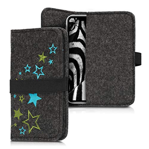 kwmobile Filz Tasche für Smartphones - mit Gummiband - Handy Filztasche Schutztasche Sternenmix Hellgrün Blau Dunkelgrau - 16,0 x 8,0 cm Innenmaße
