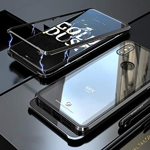 Xiaomi Mi Mix 3 Case, UBERANT Metal Frame & Tempered Glass Back 2 in 1 Ultra-Thin Clear Luxury Scratch Resistant Shockproof Magnetic Adsorption Case for Xiaomi Mi Mix 3 6.39' Black