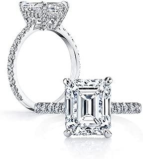 Erllo 925 Sterling Silver 3 Carat Emerald Cut CZ Cubic Zirconia Women Solitaire Engagement Wedding Rings