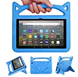 Fire HD 8 Case (10th Generation, 2020 Release),All-New Fire HD 8 Plus Tablet Case, Riaour Light Weight Shock Proof Handle Friendly Stand Kid-Proof Case for All-New Fire HD 8 Tablet Cover (Blue)
