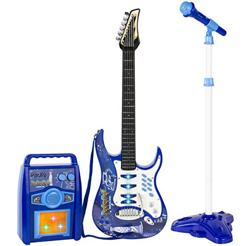 Best Choice Products Electronic Kid Guitar W/ MP3 Player and Microphone and Amplifier Children Play Set - Blue