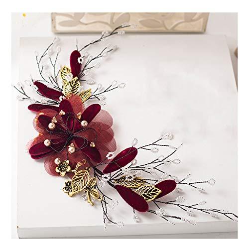 QFF Q Guirnalda de Flores Novia Tocado Vino Cabeza roja Collar de Flores Cena Vestido de brindis para la Boda Accesorios para el Cabello F (Color : A)