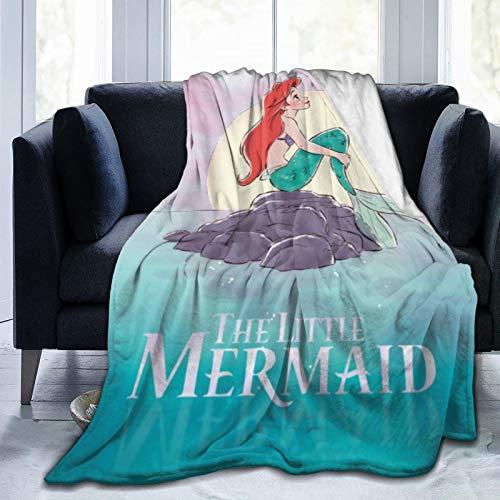 Colcha de princesa Ariel para sofá cama, manta de forro polar, diseño de princesa Ariel