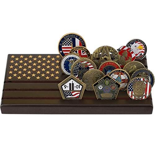 LZWIN Münzhalter für 6 Reihen aus Holz, US-Armee, Militär, Sammlerstück Challenge Münzen, Display Koffer, amerikanische Flagge, für 24-30 Münzen