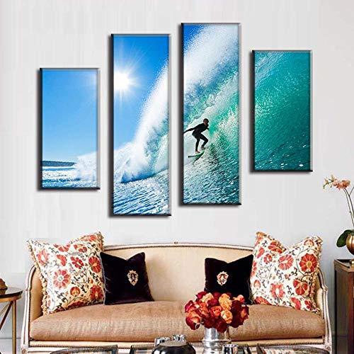 LOVELYJ Leinwanddrucke 4 Stücke Moderne Seascape Leinwand Surfen In Hawaii Wandbilder Wandbilder Für Wohnzimmer Wandkunst Bild-Rahmen