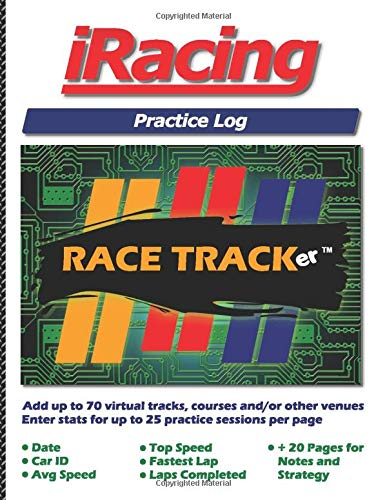 iRacing Practice Log: Hone your racing skills at up to 70 different tracks or courses with 25 practice sets per page! Enter: Date, Car ID, Avg Speed, ... 20 additional pages for notes and strategies!