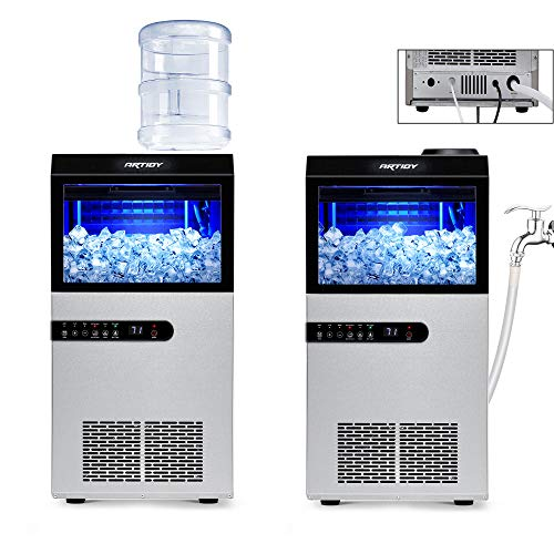 Artidy Commercial Ice Maker Machine, 100LBS/24H Clear Ice Cube, Stainless Steel Under Counter Ice Maker, 33lbs Ice Storage Capacity Ideal For Home, Office, Restaurant, Bar and Coffee Shop