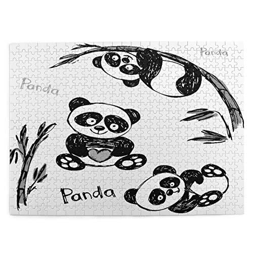 CVSANALA Jigsaw Picture Puzzles 500 Stück,Fröhliche Panda Verschiedene Posen mit Bambus,Bildungs Familienspiel Wandkunstwerk Geschenk für Erwachsene,Teenager,Kinder,20.4 x 15Zoll