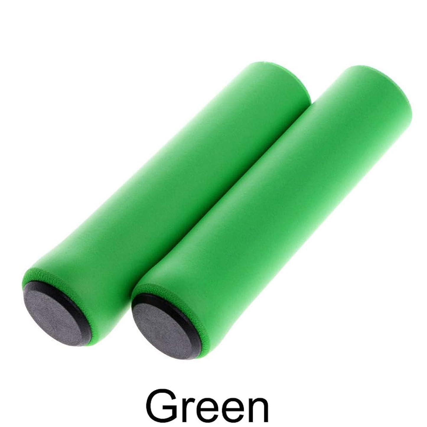 シェア彼ら忌まわしいPYDD 1Pairシリコーンサイクリング自転車グリップアウトドアMTBマウンテンバイクハンドルグリップカバー滑り止めの強力なサポートグリップバイクパート (Color : Green)