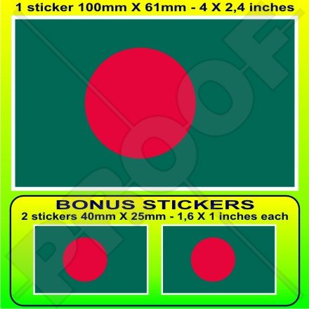 Bangladesh Drapeau bangladaises 10,2 cm Bumper Sticker en vinyle (100 mm), en x1 + 2 Bonus