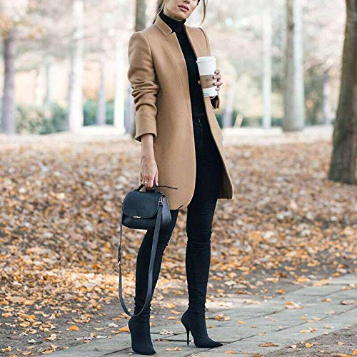 WQDS Stand-up Collar Woolen Ladies Wool Coat Solid Color Stitching Long-Sleeved Long Coat Retro Women
