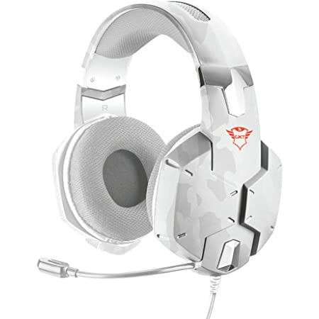 Trust Cuffie Gaming GXT 322W Carus con Microfono Flessibile, 3.5 mm Jack, Filo, Over Ear, PC, PS4, PS5, Xbox Series X, Xbox One, Switch, Bianco Mimetico